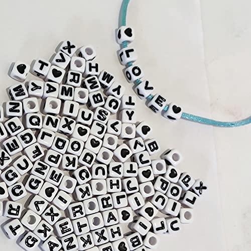 400 unidades de dados con letras del alfabeto de 7 x 7 mm, color blanco, de acrílico, A-Z y corazón para pulseras, joyas y manualidades