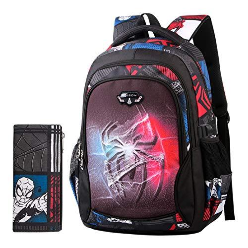 MODRYER Scuola Zaino Bag Ragazzi Viaggi Zaino Leggero Student Daypack Pranzo Ragazza del Capretto Supereroe Zaino per Bambini di Scuola della Escursione di Campeggio,Spiderman-L(46 * 30 * 22CM)