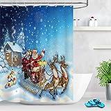 LB Weihnachten Duschvorhang 150X180cm Weihnachtsmann,Rentier,Winter Schnee,Blaue Nacht Bad Gardinen Polyester Wasserdicht Antischimmel Badezimmer Vorhang mit Haken