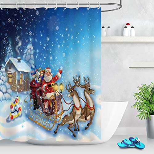 LB Merry Christmas Shower Curtain 59x71 inch Reindeer,Winter Snow,Blue Night,Santa Claus Bath Curtains with Hooks,Anti Mould Polyester Fabric Waterproof Bathroom Curtain