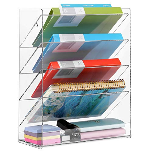 MaxGear Hanging Wall Files Organizer Acrylic Wall File Holder 5 Tier Vertical Wall Mount File Organizer Hanging Mail Organizer Magazine Literature Rack for Office Home, Clear