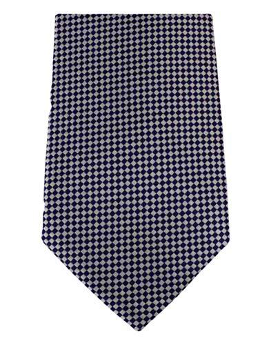 David Van Hagen Blanc/Bleu cravate à carreaux de