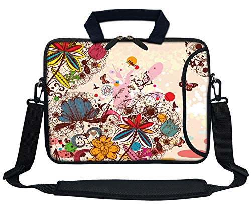 Meffort Inc 13 Inch Neoprene Laptop Bag with Extra Side Pocket Fits for 12.5 to 13.3 Inch Size Computer - Colorful Flower Butterfly