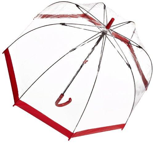 Paraguas Transparente con Borde Rojo