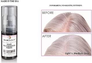 Hairology Hair Building Thickening Fibers, Gray, 0.2 Ounce, Light to Medium Gray