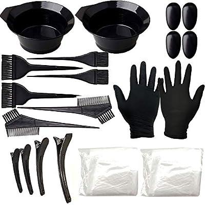 Hair Dye Coloring Highlighting Kit - Hair Tinting Bowl, Dye Brush, Ear Cover, Hair Coloring Cape, Shower Cap, Gloves for DIY Salon [22 Pcs]