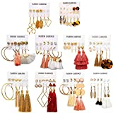 63 paires de boucles d'oreilles colorées avec pompon - Boucles d'oreilles pendantes en forme de boule - Pour femmes et filles - Bijoux tendance et cadeau de Saint-Valentin