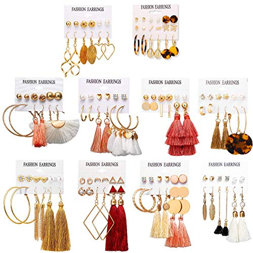 20% of 63 Pairs Fashion Earrings with Tassel Earrings Layered Ball Dangle Hoop Stud for Women Girls Jewelry $13.59
