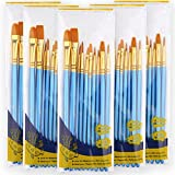Acrylic Paint Brushes, 5 Sets of 10pcs Round-Pointed Tip Artist Paintbrushes for Acrylic Watercolor Oil, Face Body Nail Art, Rock Shoes Models & Crafts, Kids Classroom Adults Painting Supplies in Bulk