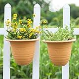 Sungmor Jardín 2PC Paquete Colgante de Pared Jardinera, macetas de Flores de plástico de Almacenamiento de Agua, barandilla Exterior Interior Plantas Decorativas Contenedor