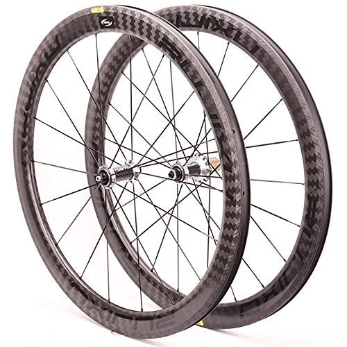XCZZYC Juego de Ruedas de Bicicleta de Carretera 700C Rodamiento de cerámica de Fibra de Carbono Freno en V Ruedas de Bicicleta Delanteras traseras 8 9 10 11 Velocidades Radios de liberación rápida