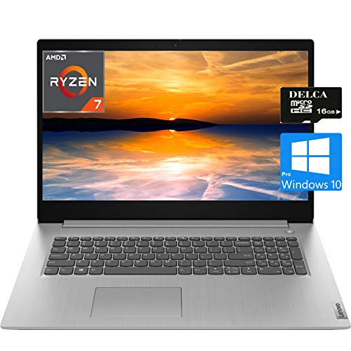 Lenovo IdeaPad 3 17 Premium 2020 Laptop Computer I 17.3' HD+ I AMD Quad-Core Ryzen 7 3700U (i5-5200U) I 20GB DDR4 1TB SSD I HDMI Fingerprint WiFi Dolby Win 10 Pro + Delca 16GB Micro SD Card