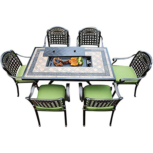 ZYFWBDZ Bbq Table Outdoor, Cast Aluminum Electric Barbecue Table and Chair Outdoor Courtyard Aluminum Home Dining Table and Chair Combination