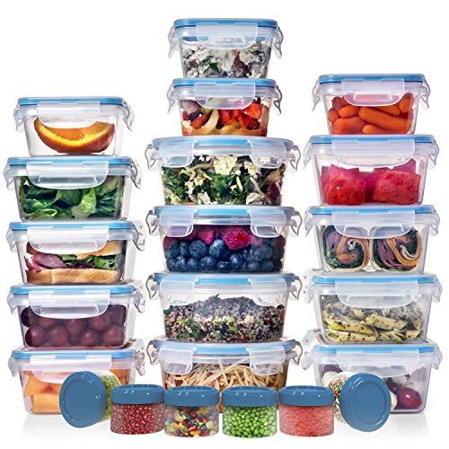 Riesiges Set (32 Stück) Frischhaltedosen mit Deckel – Kunststoff-Lebensmittelbehälter mit Deckel – luftdicht, auslaufsicher, einfach Schnappverschluss, Lunchbox, BPA-frei