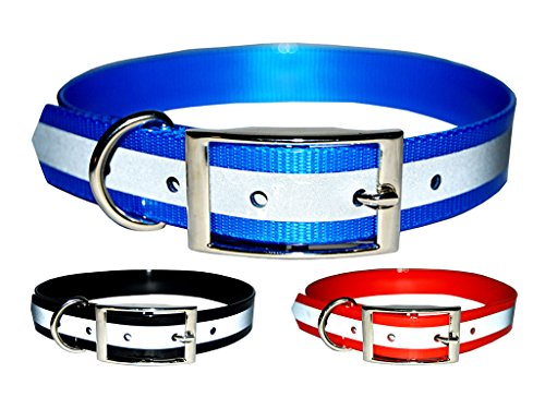 Downtown Pet Supply New Reflective Dark Dog Collar, Strong TPU Safety Collar, Suitable for Dogs or Cats, Color Blue, Size Large