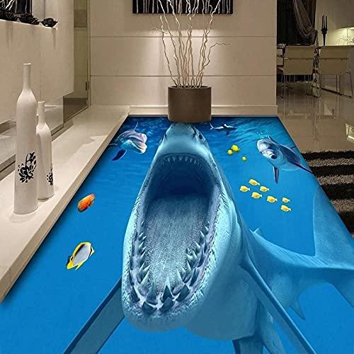 PVC autoadhesivo impermeable piso pegatina 3D estéreo tiburón baldosas baño cocina piso Mural Wallpaper-350x245cm