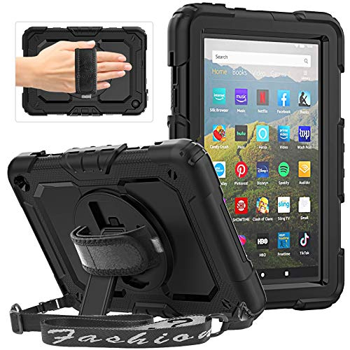 HXCASEAC Case for All-New Amazon Fire HD 8 Tablet and Fire HD 8 Plus (10th Generation, 2020 Released), Heavy Duty Shockproof Case with 360 Rotating Stand/Hand Strap, Screen Protector for Kids, Black