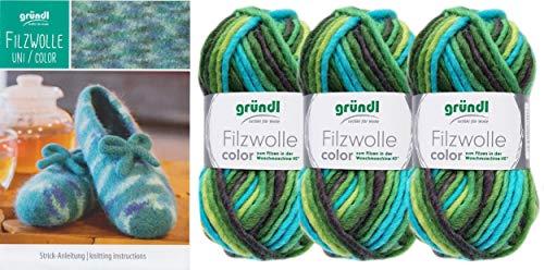 3x50 Gramm Gründl Filzwolle Color Wolle SB-Pack Wollset inkl. Anleitung für gestreifte Filzhausschuhe mit 2 Strasssteine zum aufnähen (41 Grün Schwarz Mix)
