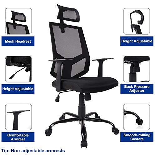 SMUGDESK Ergonomic Office High Back Mesh with Adjustable Headrest Neck Support & Arms Computer Task Chair, Dark Black
