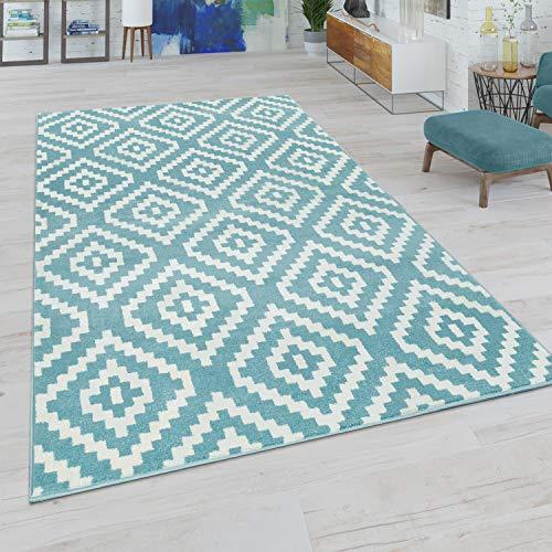 Paco Home Wohnzimmer Teppich, Rauten Muster in Pastell Farben, Moderner Boho Ethno Look, Grösse:70x140 cm, Farbe:Blau