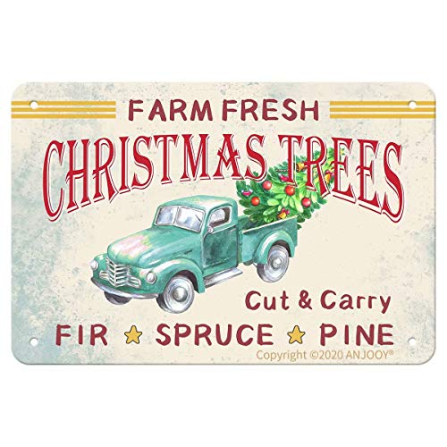 ANJOOY Tin Signs Vintage - Farm Fresh Christmas Trees - Metal Sign for Bedroom Cafe Home Bar Pub Coffee Beer Kitchen Bathroom Door Garden Funny Wall Decor Art 8'x12'