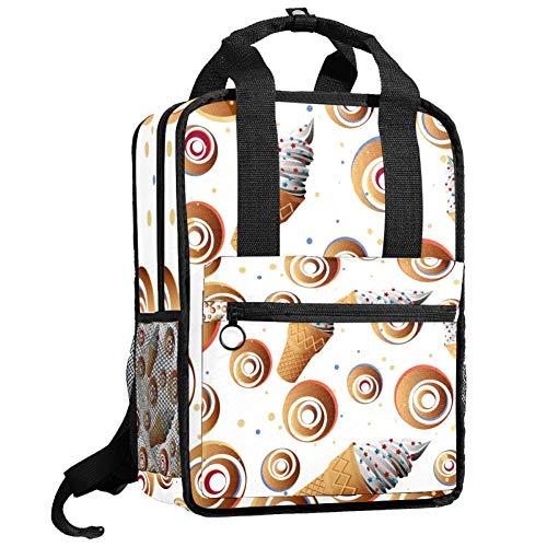 Mochila de viaje para ordenador o estudiante, bolso de mano, informal, regalo para hombres y mujeres, diseño de helado