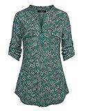 Oyamiki Women's Zip Front V-Neck 3/4 Sleeve Tunic Casual Top Green/XXL