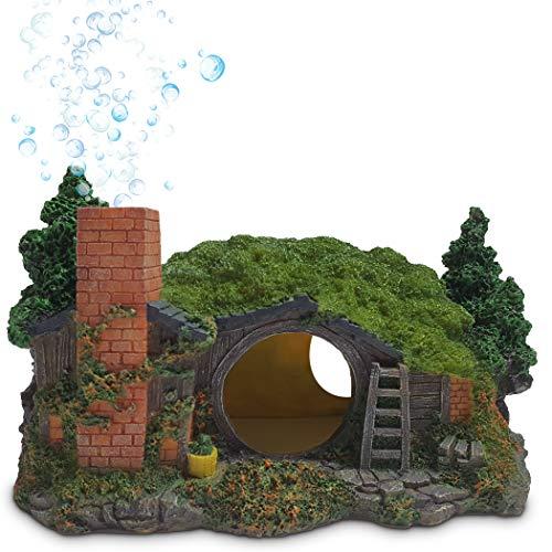 MIDAS MARS Fish Tank Decor Hobbit House – Medium Sized Resin Fish Cave Aquarium Decor – Unique Chimney Air Bubbles –No Color Peel – Ideal for Snake Tank, Betta Fish Tank Decorations
