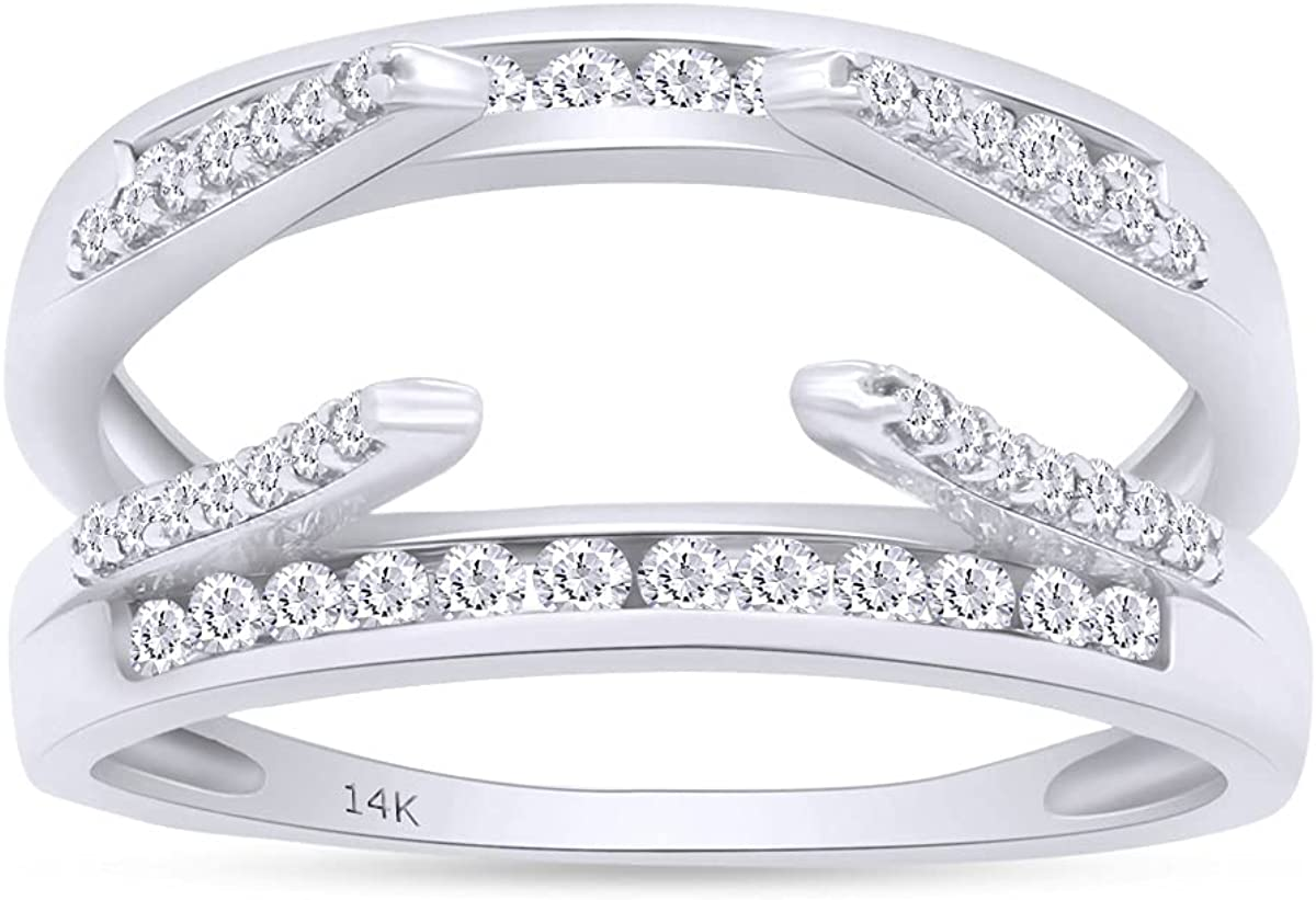Round Shape White Cubic Zirconia Solitaire Enhancer Guard Ring 14K Gold
