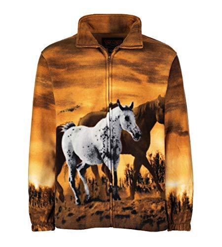 TrailCrest Men's Women's Sweater Jacket Full Zip Fleece Horses Wildlife Sweatshirt Wildkind