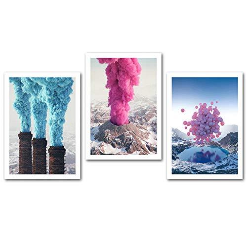 CNHNWJ wandfoto, motief Volcano Lake, motief landschap, open haard, foto's, wand, kunst, ballon, decoratie, voor thuis (40 x 60 cm x 3 / zonder lijst)
