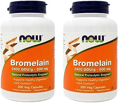 Now Bromelain 500 mg, 200 Veg Capsules (Pack of 2) Supplement