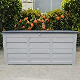 CHARCOAL GARDEN STORAGE BOX OUTDOOR WATERPROOF DECK CONTAINER CHEST SHED 290 LITRE