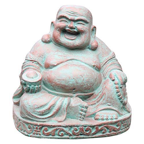Ciffre Kleiner Happy Buddha Stein Figur 18cm - 20cm 5 Kilo Antik Look Massiv Steinfigur Skulptur Feng Shui Garten Deko Wetterfest Lawa Steingus