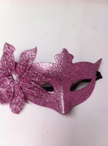 Rose Clair Paillettes Fleur Mascarade Masque