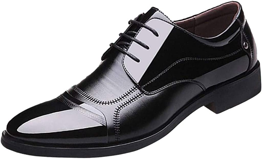 Severkill Tuxedo Patent Leather Shoes Stitched Wedding Shoes for Men Cap Toe Lace up Formal Business Oxford Shoes