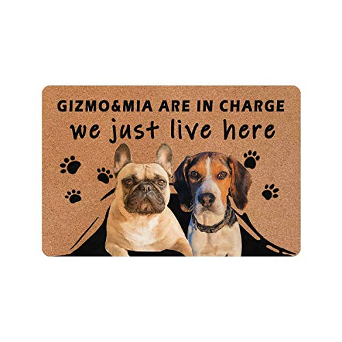 MyPhotoSwimsuits Custom Dog Name and Picture Funny Doormat 24' X 16' Indoor Outdoor with Beagles French Bulldogs Entrance Door Mat Rug Decor We Just Live Here