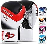 Starpro Gants de Boxe Entrainement - 8oz 10oz 12oz 14oz 16oz | Gant pour Sparring Muay Thai Sac Frappe d'entraînement Pro Mitaines Kickboxing Compétition | Cuir Synthétique pour Les Hommes et Femmes