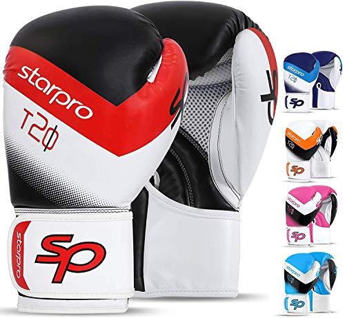 Starpro Guantes de Boxeo Muay Thai - Ideales para Kickboxing, Sparring, Grappling, Entrenamiento, Training |8oz, 10oz, 12oz, 14oz, 16oz| Hombres y Mujeres | Naranja, Azul, Rosado, Rojo, Azul Marino