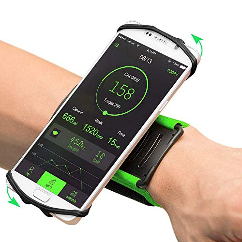 """DKY Sport Phone Holder Wristband for iPhone Xs Max/XS/XR/8 Plus/8,Galaxy Note9/S9 Plus/S9 & Other 3.5""""-6.5"""" Smartphone,180 Degrees Rotatable,Great for Hiking Biking Walking Running Armband (Black)"""