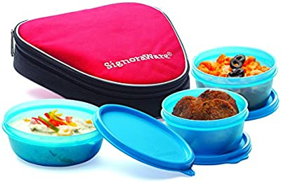 Signoraware Sleek Lunch with Bag, T Blue