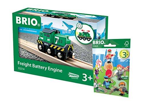 BRIO Eisenbahn Set - 33214 Batterie-Frachtlok grün und 33829 1x Figuren Pack Serie 1