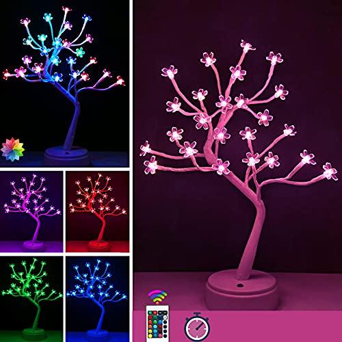 17' Cherry Blossom Tree Light with Timer Function, 16 Color Changing LED Japanese Sakura Flower Lights, USB Battery Powered Bedside Table Lamp for Night Light,Gift for Girls,Women,Mother, Room Decor