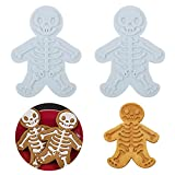 2Pcs Skeleton Cookie Mold, Skull Cookies Stampers SWEET SPIRITS Day of the Dead Cookie Cutter Gingerdead Men Cookie Cutter Halloween Christmas Bakeware Supplies