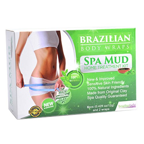Brazilian Belle Detox Body Wrap [8-Piece] Slimming Home Spa Treatment for Cellulite, Weight Loss, Stretch Marks | Natural, Purifying Detoxifier for Smooth, Toned Skin