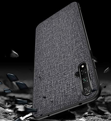 Domxteck Stoff PU Hard Back Cover + weicher TPU Bumper All-Inclusive bruchsichere Silikonhülle für das Honor 20 Pro Case-Schwarz - 4