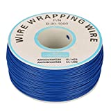 Cable eléctrico, 1 rollo de alambre de cobre de 30 AWG, diámetro de núcleo de 0,25 mm (azul)