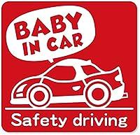 imoninn BABY in car ステッカー 【マグネットタイプ】 No.49 スポーツカー (赤色)