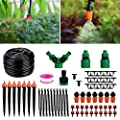 Homga Irrigation Drip Kit, Adjustable Automatic Micro Garden Irrigation System, Blank Distribution Tubing Hose Atomizing Nozzles Drippers Watering Drip Kit (130ft/40M)