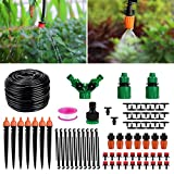 Homga Irrigation Drip Kit, 130ft/40M Adjustable Automatic Micro Garden Irrigation System, Blank Distribution Tubing Hose Atomizing Nozzles Drippers Watering Drip Kit